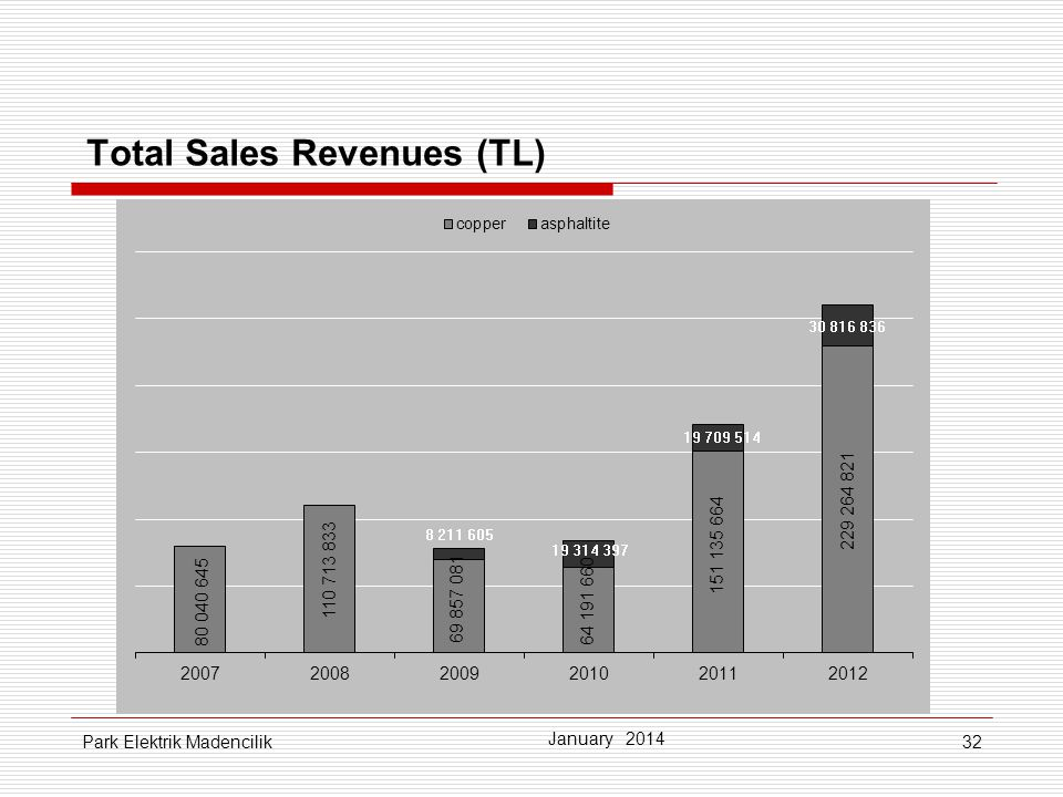 Total Sales Revenues (TL)