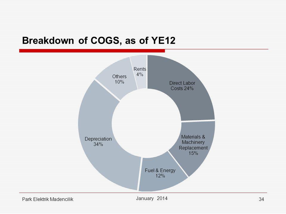 Breakdown of COGS, as of YE12