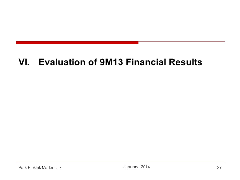 VI. Evaluation of 9M13 Financial Results
