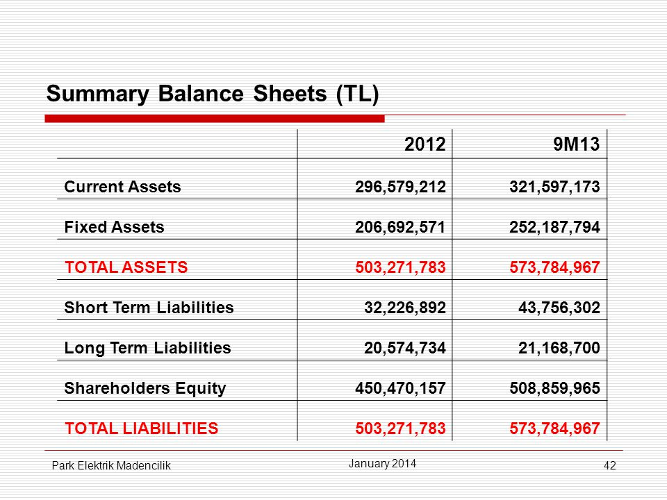 Summary Balance Sheets (TL)
