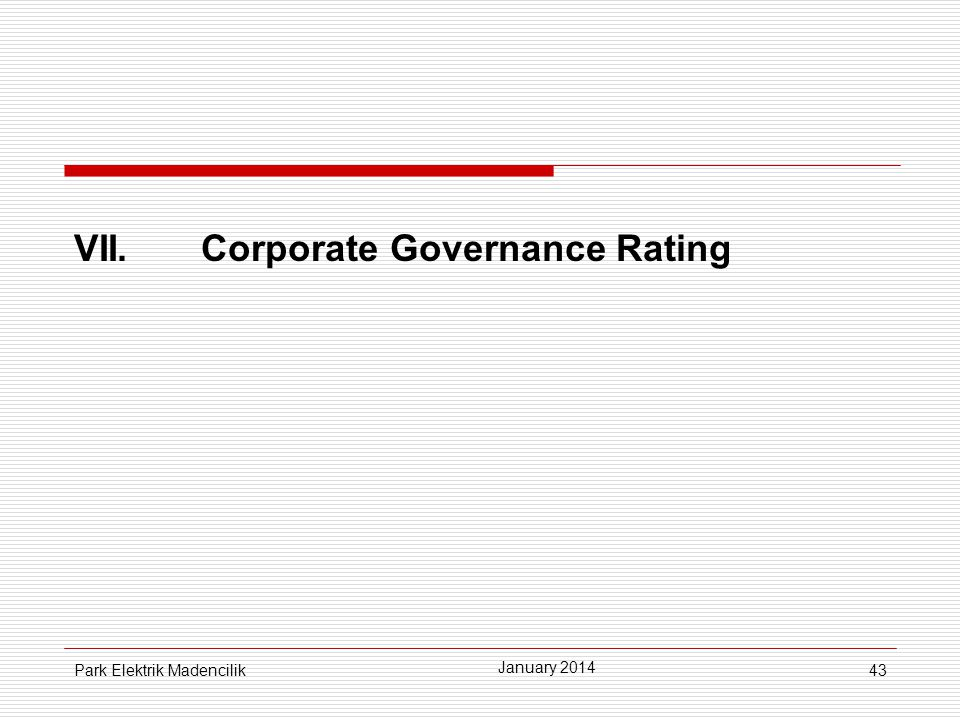 VII. Corporate Governance Rating