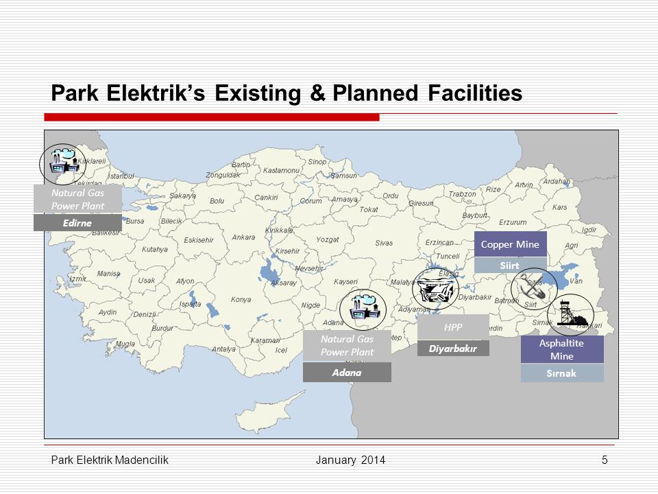 Park Elektrik's Existing & Planned Facilities