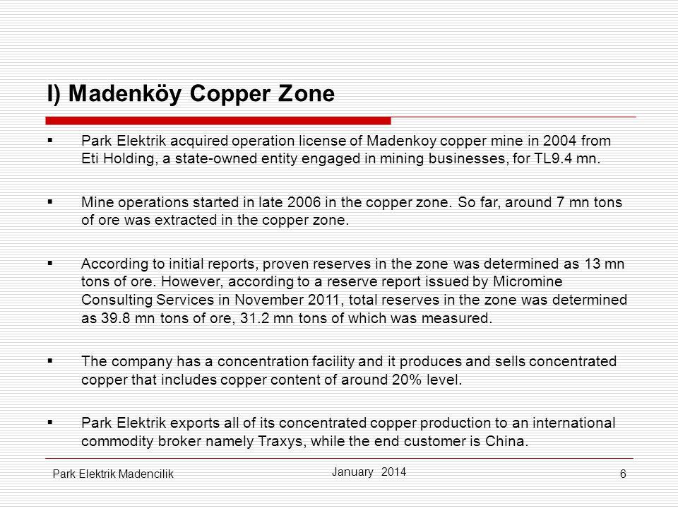 I) Madenköy Copper Zone
