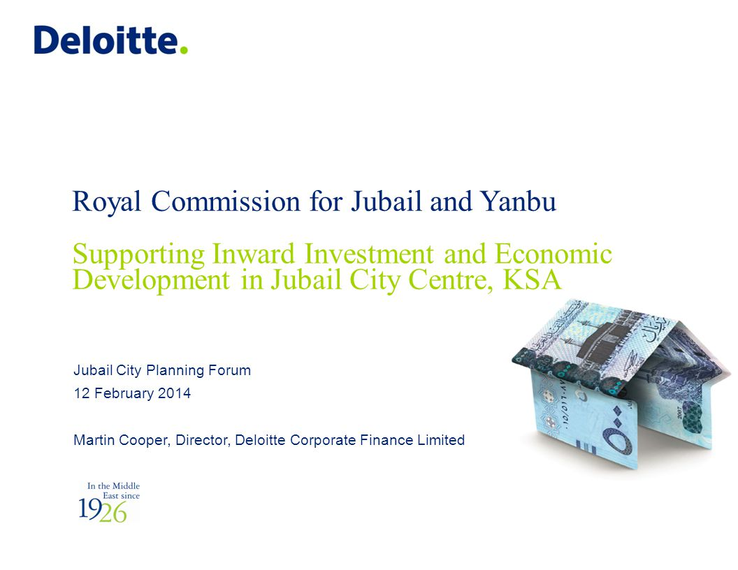 Royal Commission for Jubail and Yanbu Supporting Inward Investment and Economic Development in Jubail City Centre, KSA