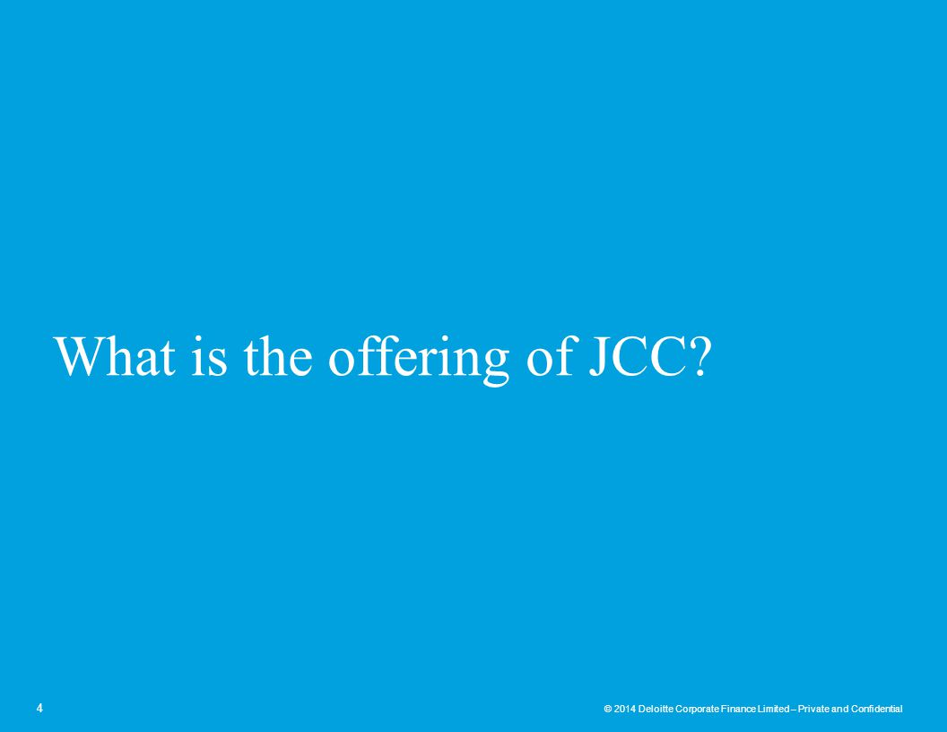 What is the offering of JCC