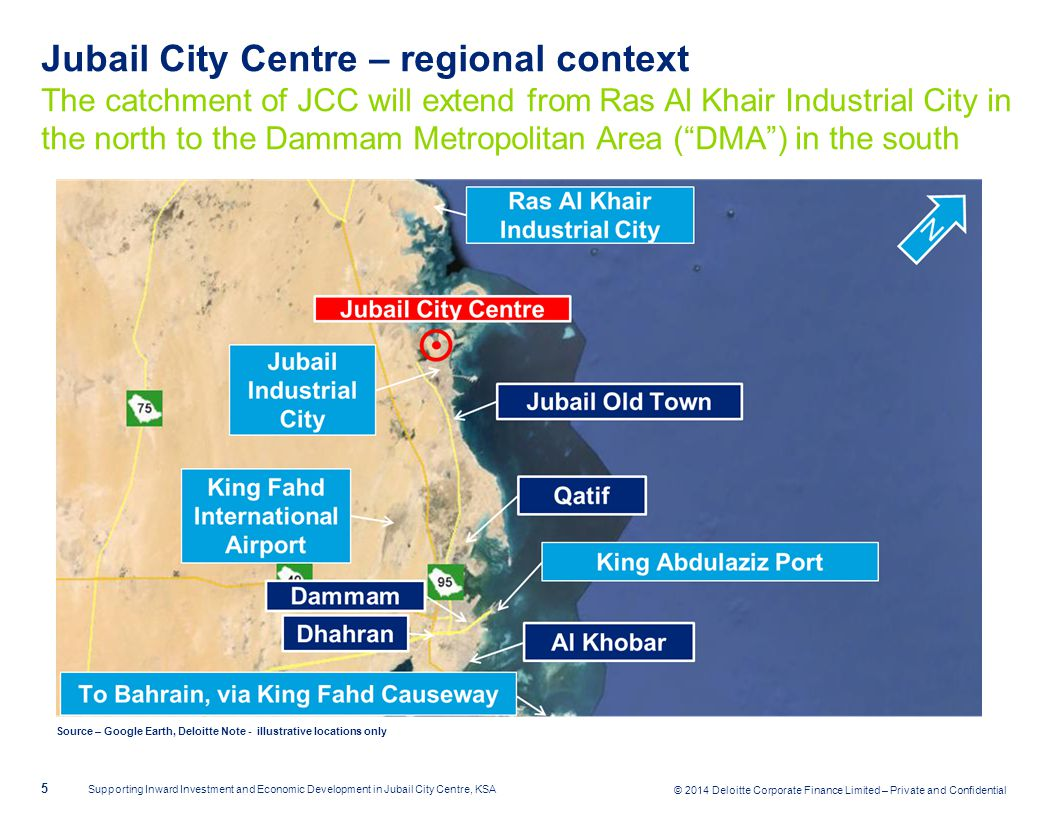 Jubail City Centre – regional context The catchment of JCC will extend from Ras Al Khair Industrial City in the north to the Dammam Metropolitan Area ( DMA ) in the south