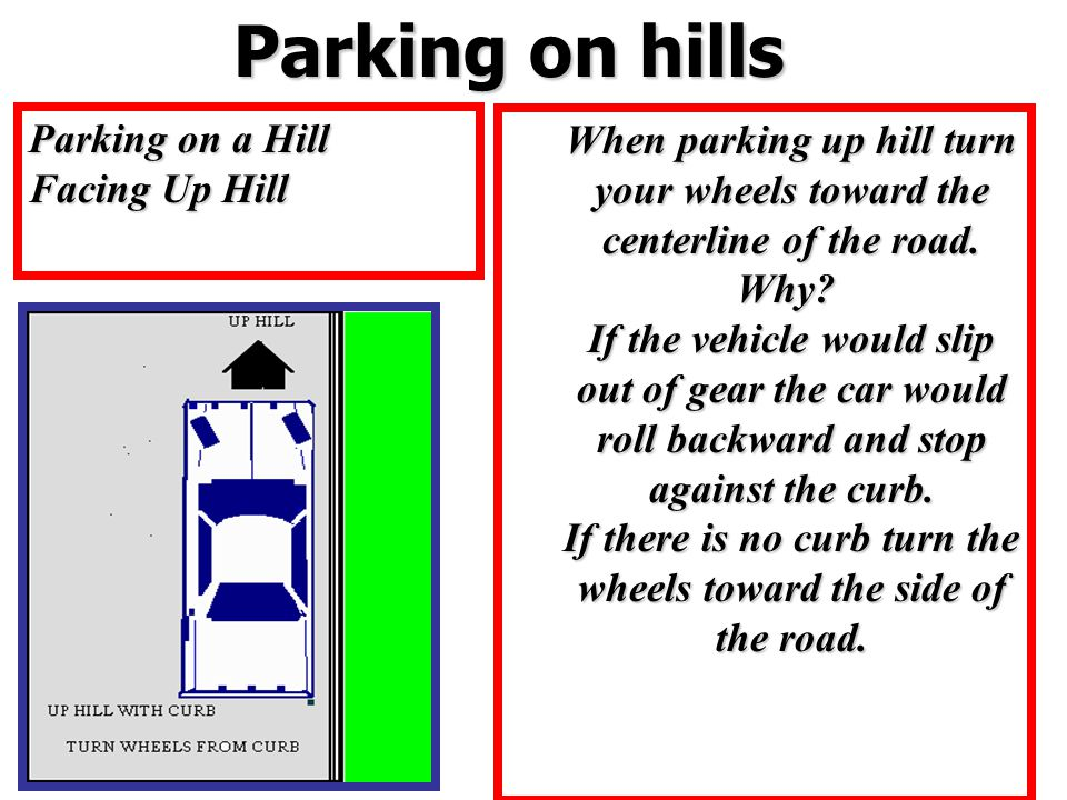 Parking on hills Parking on hills Parking on a Hill Facing Up Hill