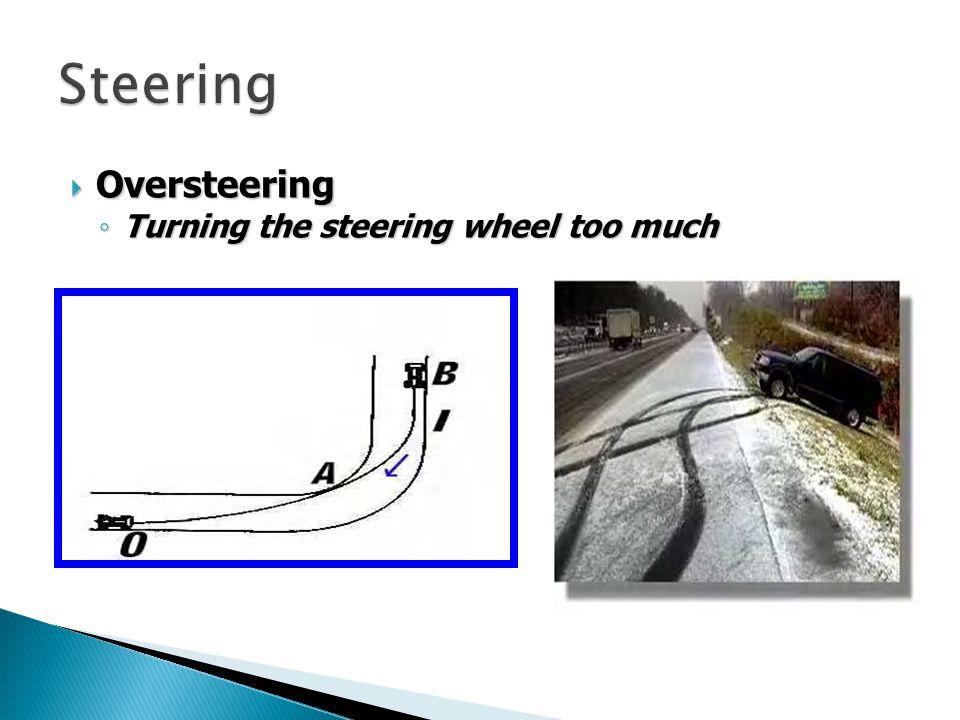 Steering Oversteering Turning the steering wheel too much