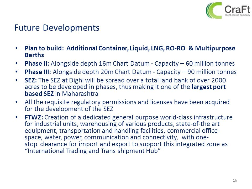 Future Developments Plan to build: Additional Container, Liquid, LNG, RO-RO & Multipurpose Berths.