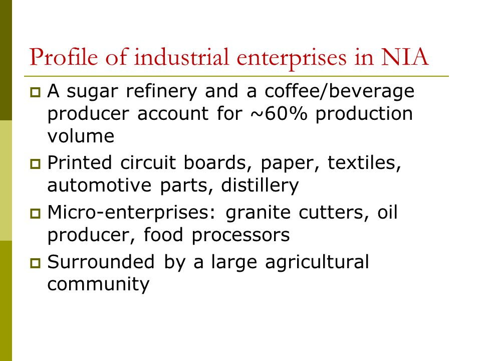 Profile of industrial enterprises in NIA