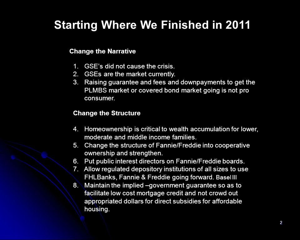 Starting Where We Finished in 2011