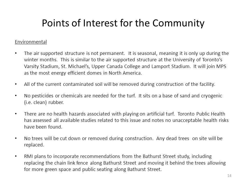 Points of Interest for the Community
