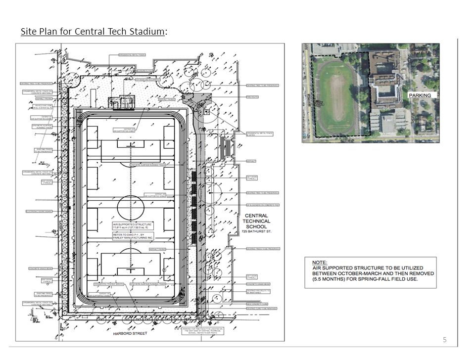 Site Plan for Central Tech Stadium: