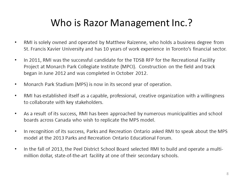 Who is Razor Management Inc.