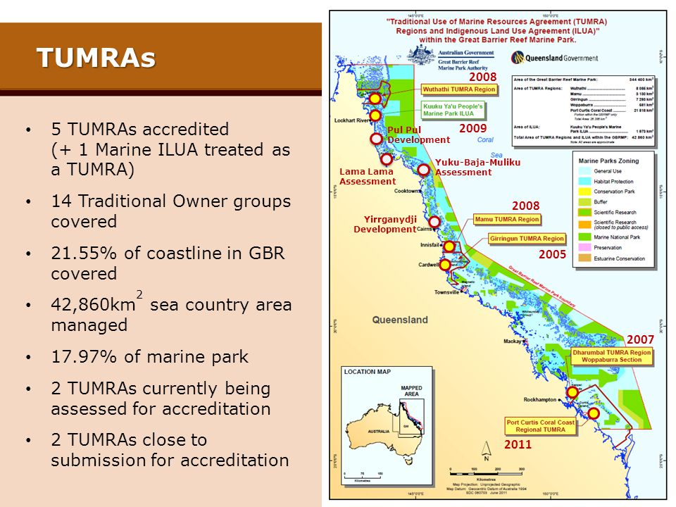 TUMRAs 5 TUMRAs accredited (+ 1 Marine ILUA treated as a TUMRA)