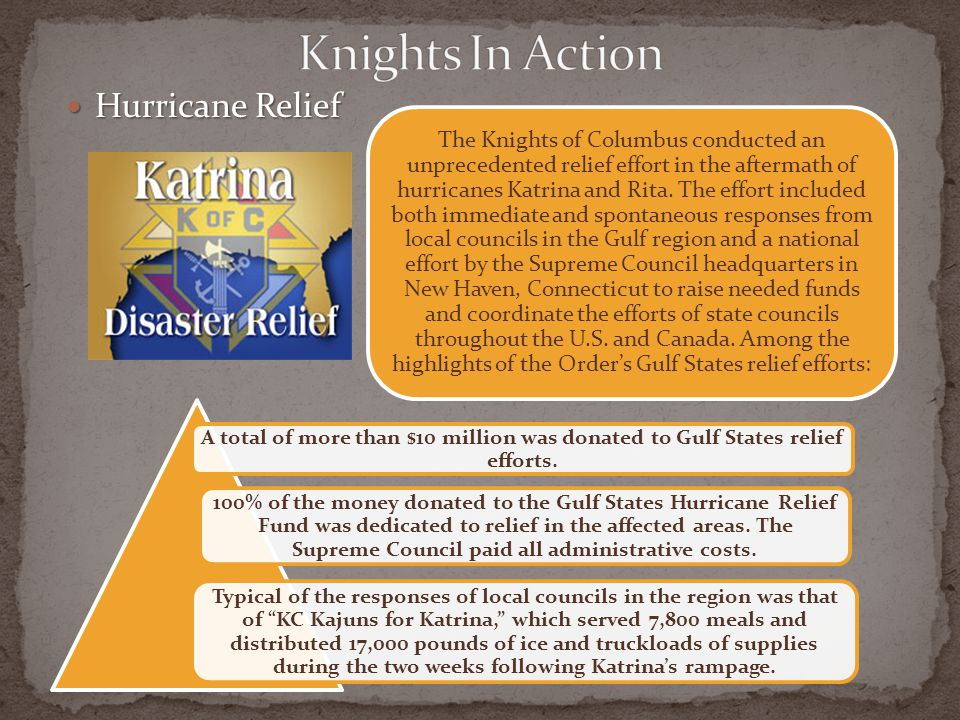 Knights In Action Hurricane Relief