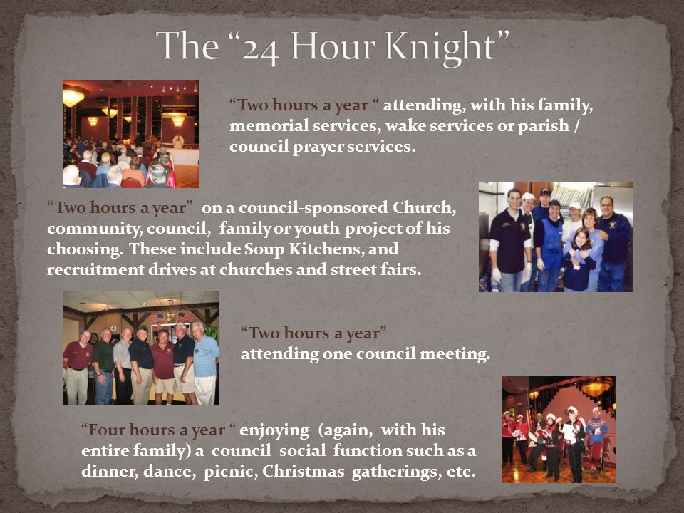 The 24 Hour Knight Two hours a year attending, with his family, memorial services, wake services or parish / council prayer services.
