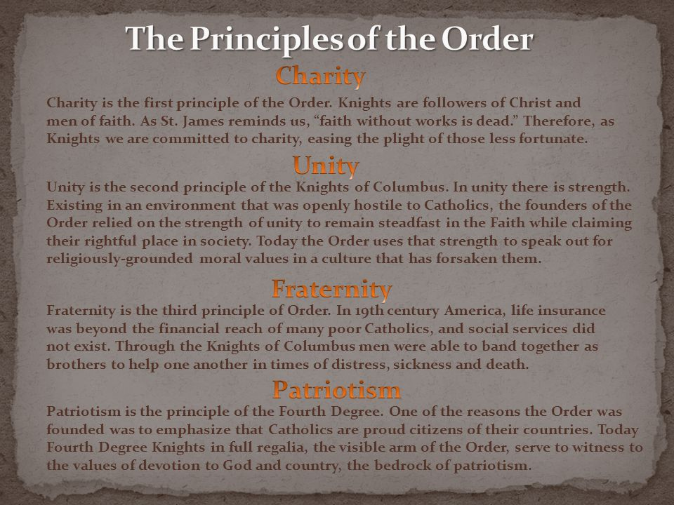 The Principles of the Order
