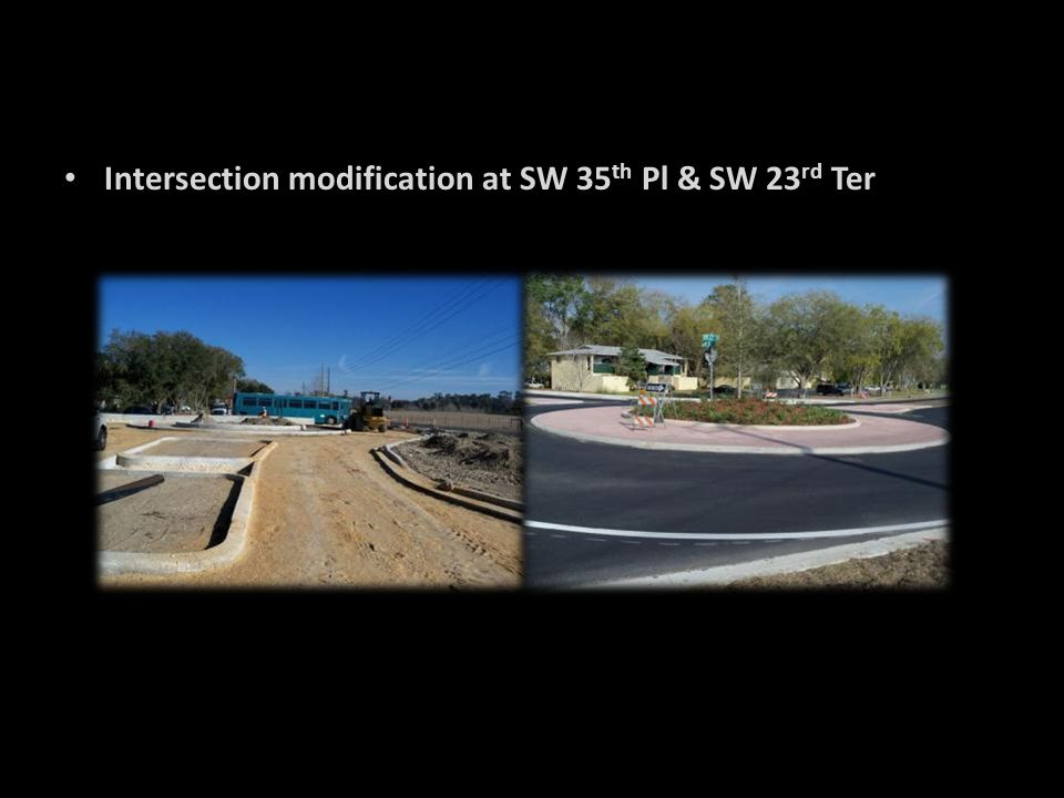 Intersection modification at SW 35th Pl & SW 23rd Ter