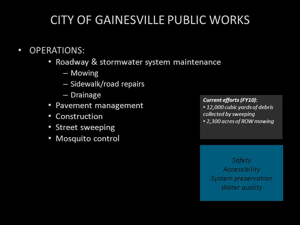 CITY OF GAINESVILLE PUBLIC WORKS