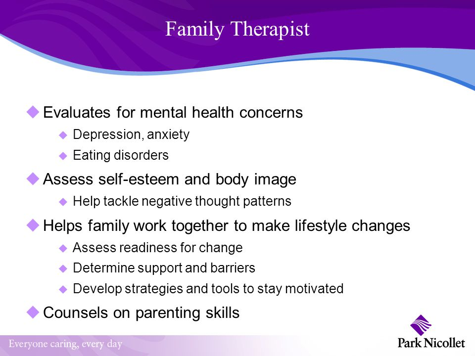 Family Therapist Evaluates for mental health concerns