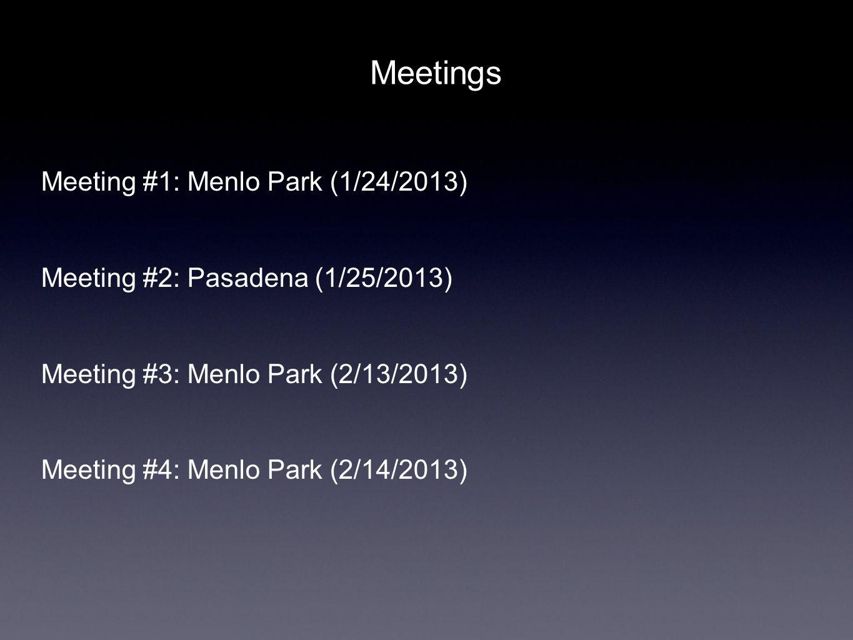 Meetings Meeting #1: Menlo Park (1/24/2013) Meeting #2: Pasadena (1/25/2013) Meeting #3: Menlo Park (2/13/2013) Meeting #4: Menlo Park (2/14/2013)