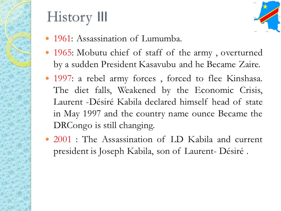History III 1961: Assassination of Lumumba.