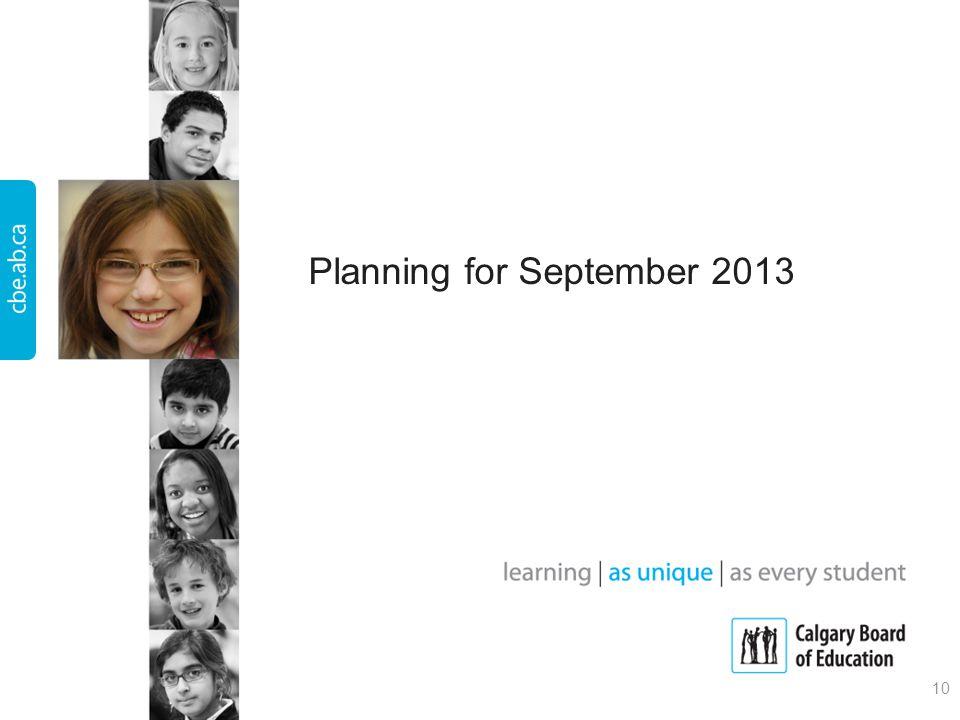 Planning for September 2013