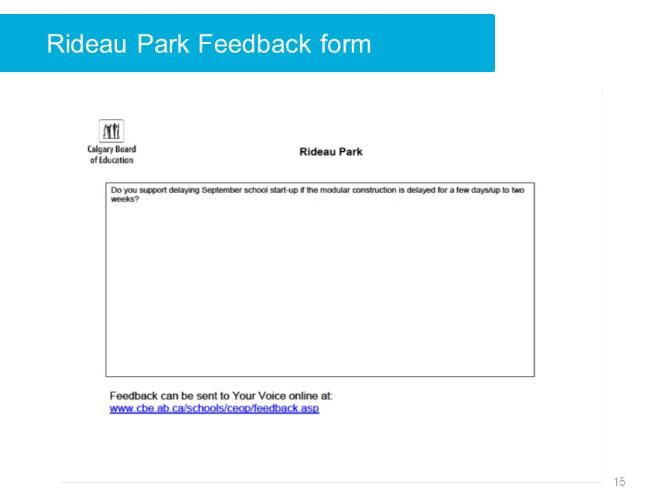 Rideau Park Feedback form