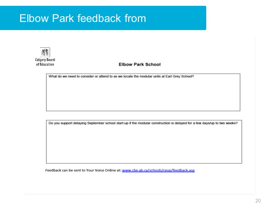 Elbow Park feedback from