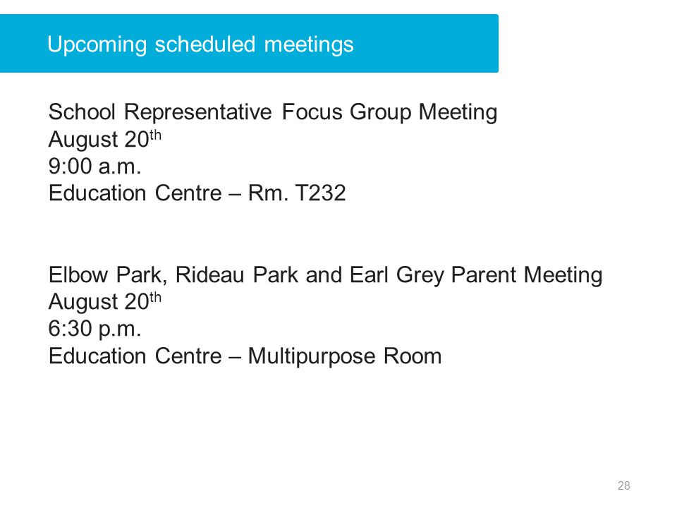 Upcoming scheduled meetings