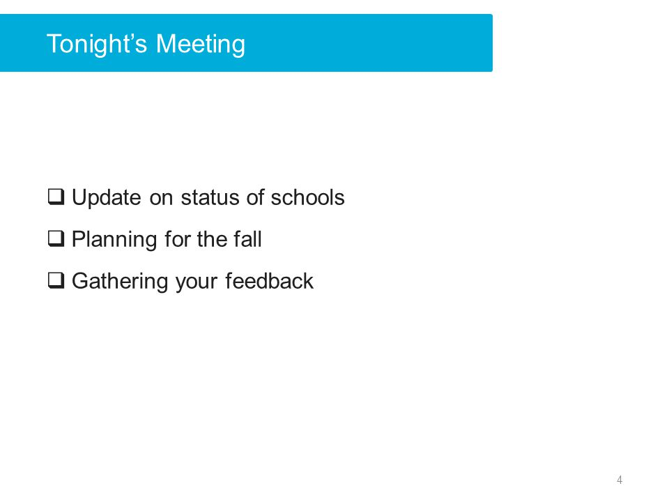 Tonight's Meeting Update on status of schools Planning for the fall