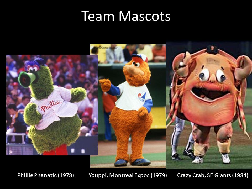 Team Mascots Phillie Phanatic (1978) Youppi, Montreal Expos (1979)