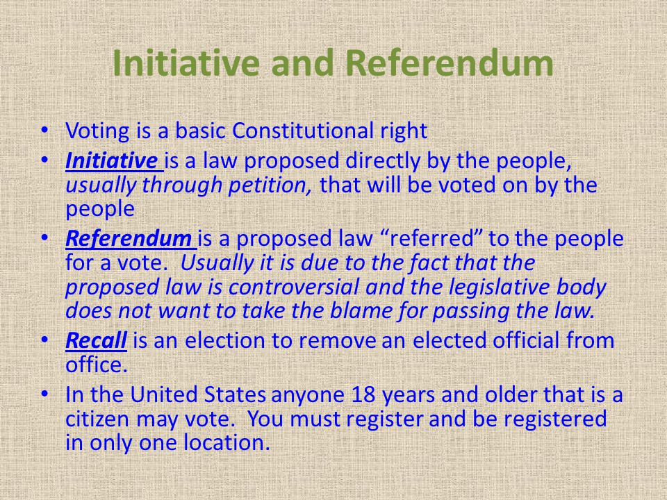 Initiative and Referendum