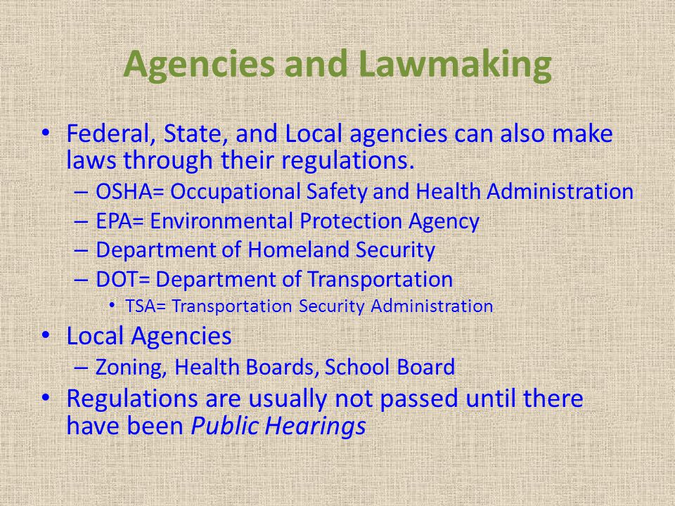 Agencies and Lawmaking
