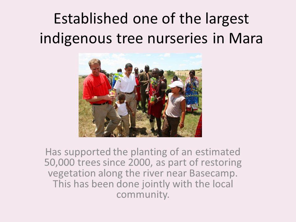 Established one of the largest indigenous tree nurseries in Mara