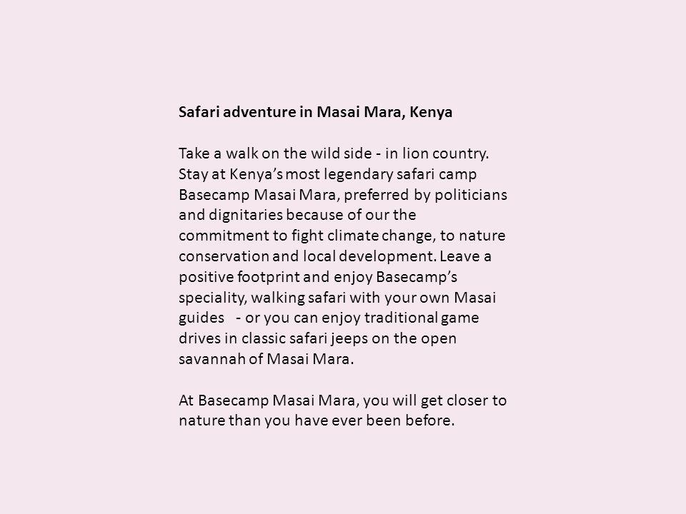 Safari adventure in Masai Mara, Kenya