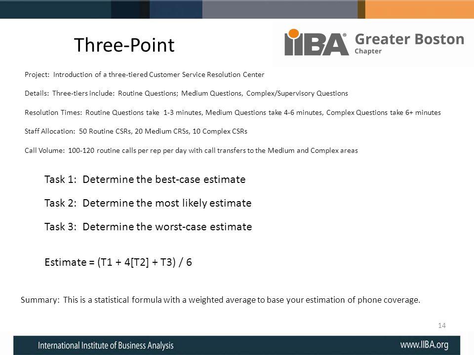 Three-Point Task 1: Determine the best-case estimate