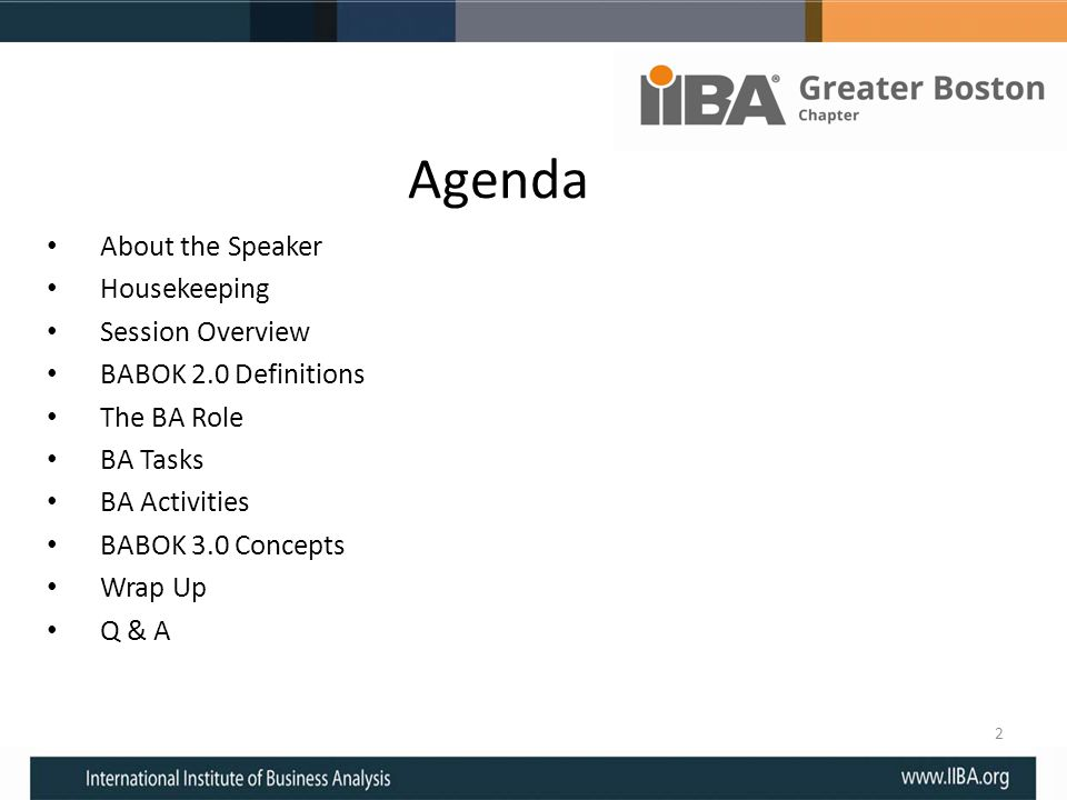Agenda About the Speaker Housekeeping Session Overview