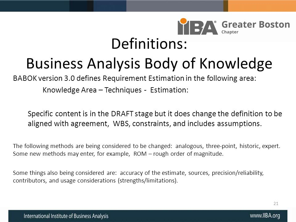 Definitions: Business Analysis Body of Knowledge
