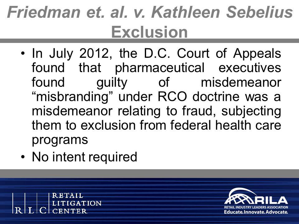 Friedman et. al. v. Kathleen Sebelius Exclusion