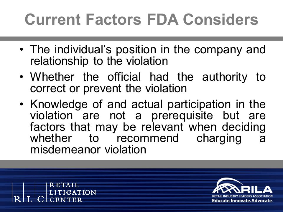 Current Factors FDA Considers