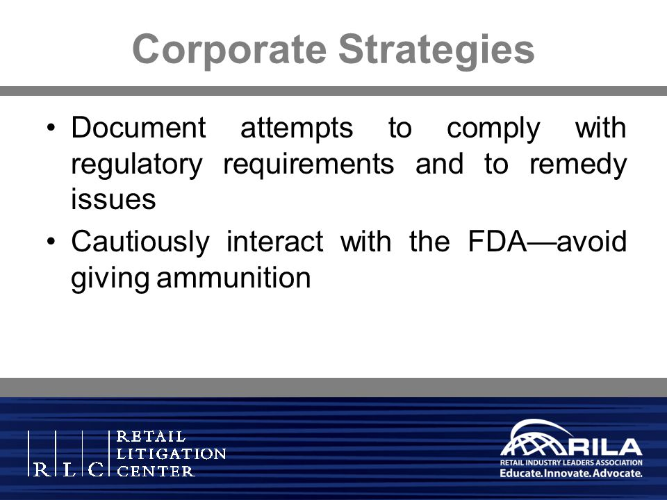 Corporate Strategies Document attempts to comply with regulatory requirements and to remedy issues.