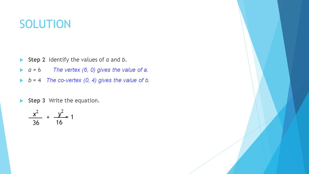 SOLUTION x2 y2 + = 1 36 16 Step 2 Identify the values of a and b.