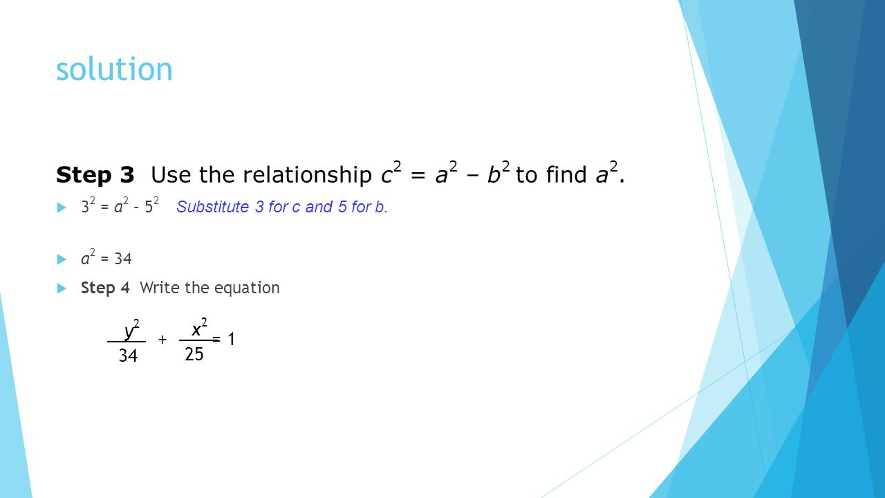 solution Step 3 Use the relationship c2 = a2 – b2 to find a2. y2 x2