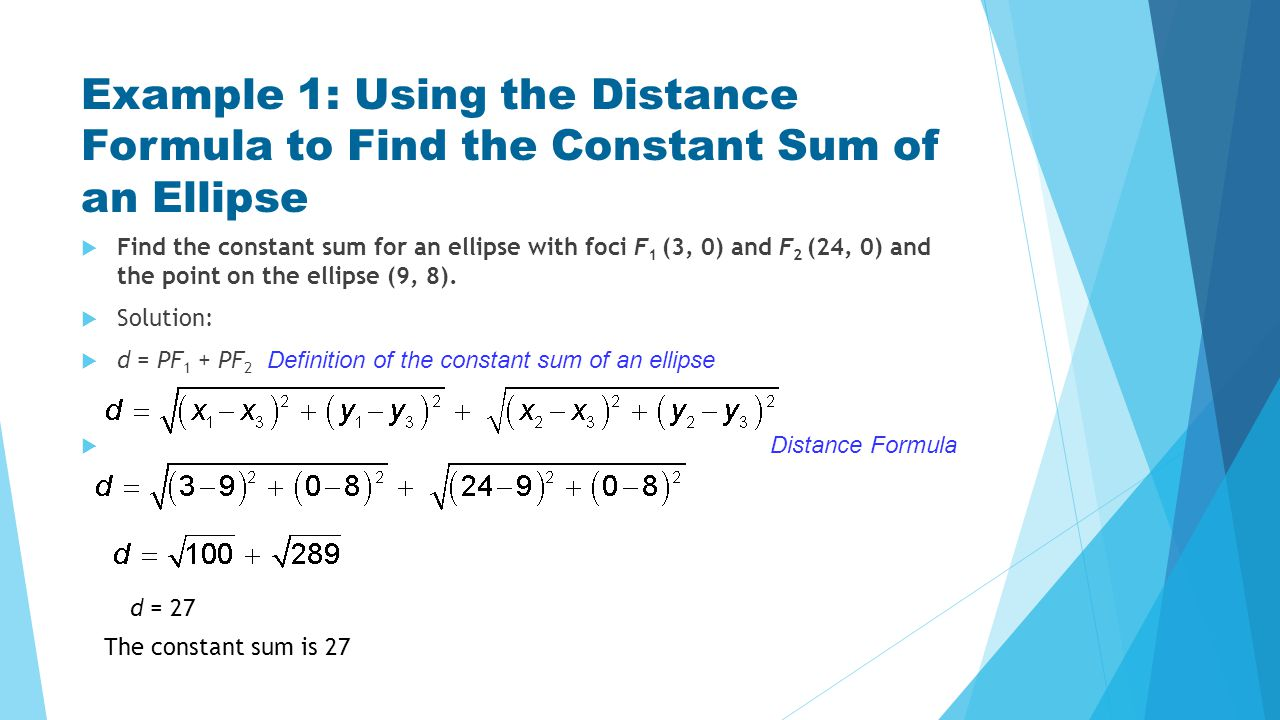 Example 1: Using the Distance Formula to Find the Constant Sum of an Ellipse