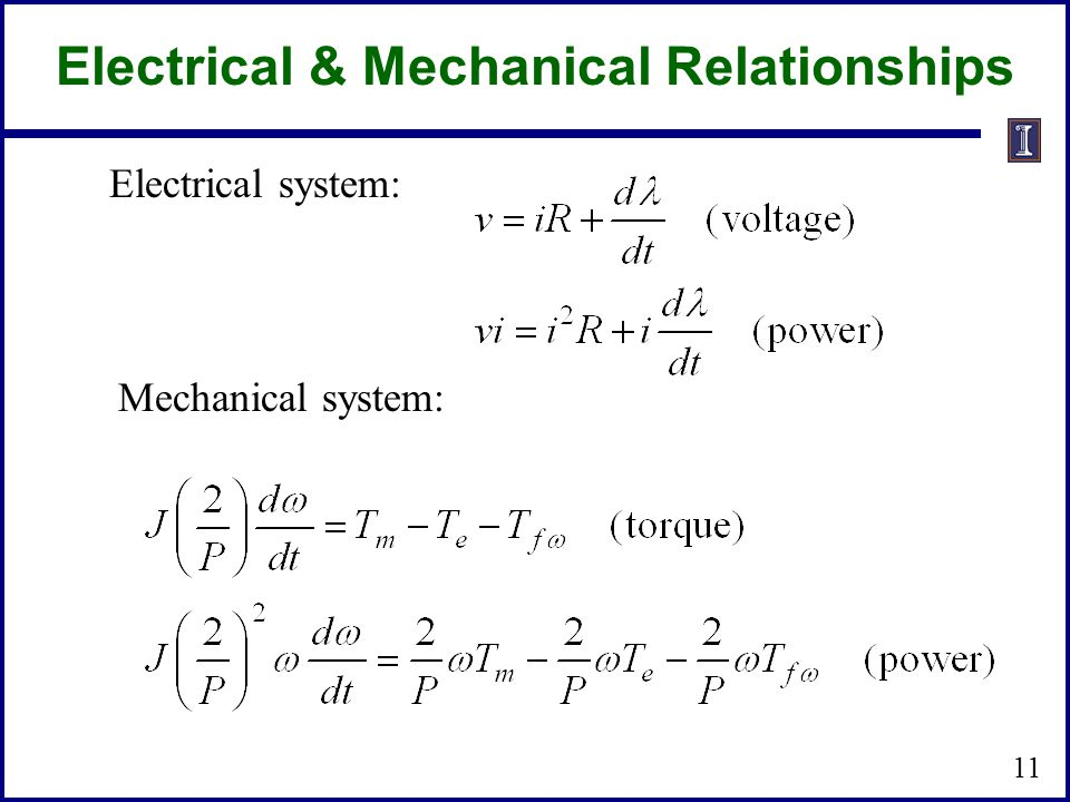 Electrical & Mechanical Relationships