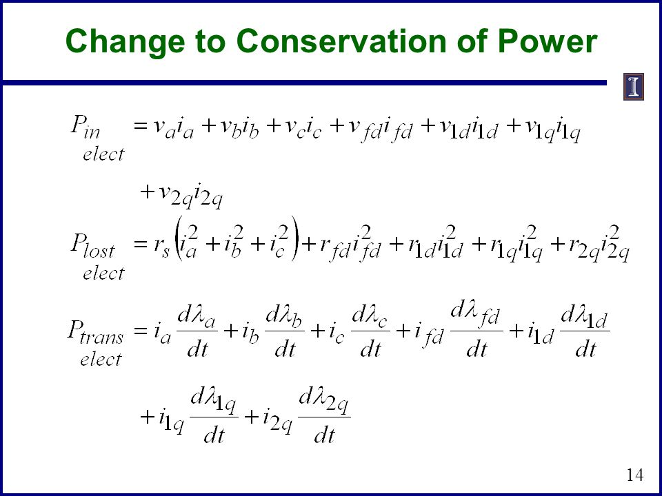 Change to Conservation of Power