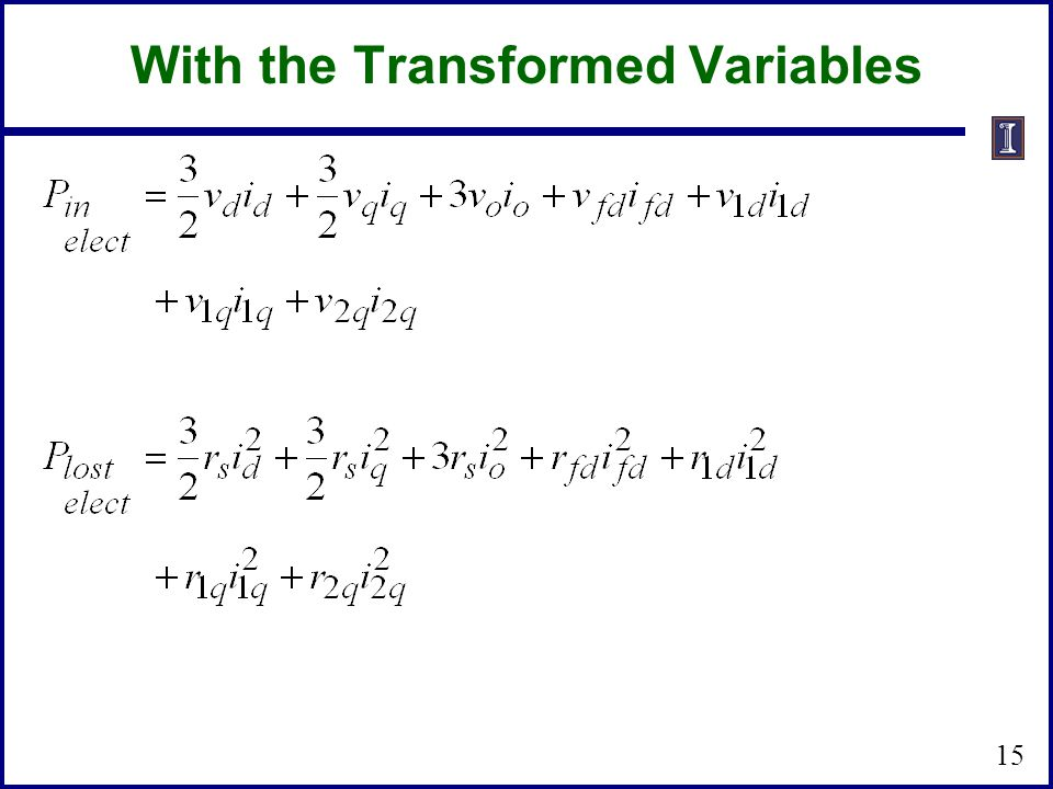 With the Transformed Variables