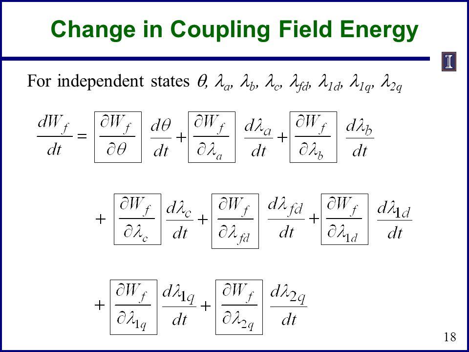 Change in Coupling Field Energy